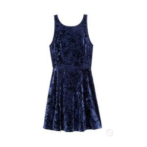 H&M - Dark Blue Velvet Short Dress